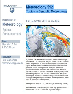 Meteorology 512  Topics in Synoptic Meteorology