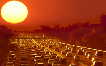 Sun glaring over roadway