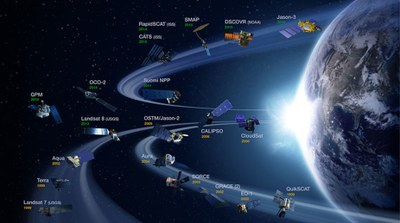 NASA Earth Science Division operating missions, including systems managed by NOAA and USGS
