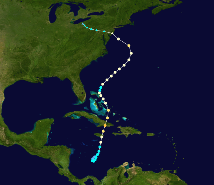 Path of Hurricane Sandy East Coast