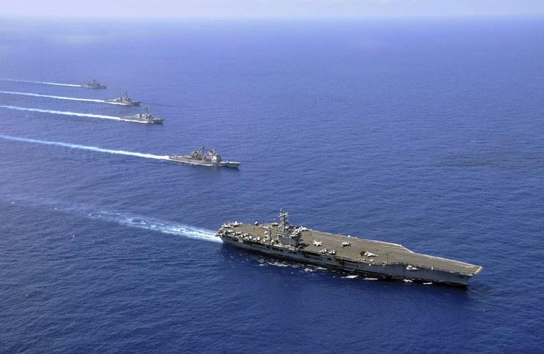 Naval ships in the ocean