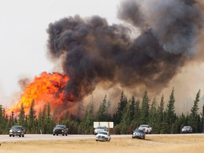 wildfire that threatened Fort McMurray, Alberta, Canada, in May 2016