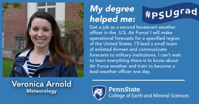 Alumnus Veronica Arnold explains how her Penn State Meteorology degree helped her land a job as a second lieutenant weather officer in the U.S. Air Force.