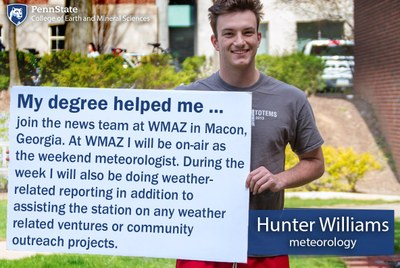 Hunter Williams explains how his Penn State Meteorology degree helped him land a job at WMAZ in Macon, GA as an on-air weekend meteorologist.